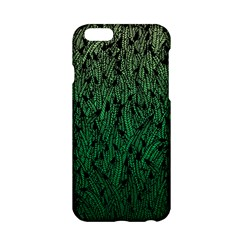 Green Ombre Feather Pattern, Black, Apple Iphone 6/6s Hardshell Case by Zandiepants