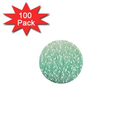 Green Ombre Feather Pattern, White, 1  Mini Button (100 Pack)  by Zandiepants