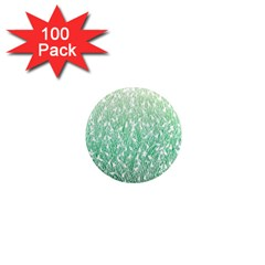 Green Ombre Feather Pattern, White, 1  Mini Magnet (100 Pack)  by Zandiepants