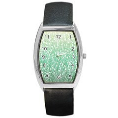 Green Ombre Feather Pattern, White, Barrel Style Metal Watch by Zandiepants