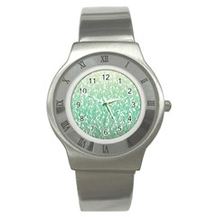 Green Ombre Feather Pattern, White, Stainless Steel Watch by Zandiepants