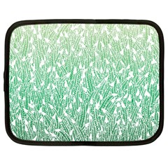 Green Ombre Feather Pattern, White, Netbook Case (xxl) by Zandiepants
