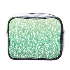 Green Ombre Feather Pattern, White, Mini Toiletries Bag (one Side) by Zandiepants