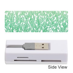Green Ombre Feather Pattern, White, Memory Card Reader (stick) by Zandiepants