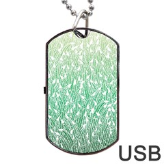 Green Ombre Feather Pattern, White, Dog Tag Usb Flash (one Side) by Zandiepants