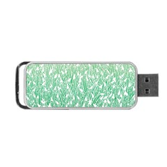Green Ombre Feather Pattern, White, Portable Usb Flash (two Sides) by Zandiepants