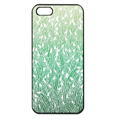 Green Ombre Feather Pattern, White, Apple Iphone 5 Seamless Case (black) by Zandiepants