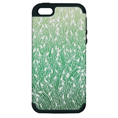 Green Ombre Feather Pattern, White, Apple Iphone 5 Hardshell Case (pc+silicone) by Zandiepants