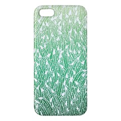 Green Ombre Feather Pattern, White, Apple Iphone 5 Premium Hardshell Case by Zandiepants