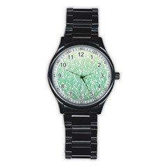 Green Ombre Feather Pattern, White, Stainless Steel Round Watch by Zandiepants
