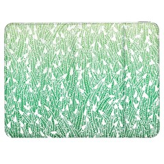 Green Ombre Feather Pattern, White, Samsung Galaxy Tab 7  P1000 Flip Case by Zandiepants