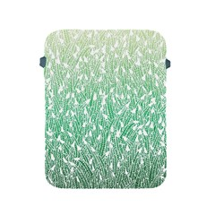 Green Ombre Feather Pattern, White, Apple Ipad 2/3/4 Protective Soft Case by Zandiepants