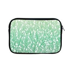 Green Ombre Feather Pattern, White, Apple Ipad Mini Zipper Case by Zandiepants