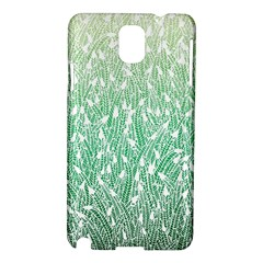 Green Ombre Feather Pattern, White, Samsung Galaxy Note 3 N9005 Hardshell Case by Zandiepants