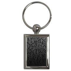 Grey Ombre Feather Pattern, Black, Key Chain (rectangle) by Zandiepants