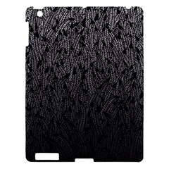 Grey Ombre Feather Pattern, Black, Apple Ipad 3/4 Hardshell Case by Zandiepants