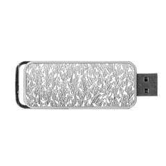 Grey Ombre Feather Pattern, White, Portable Usb Flash (one Side) by Zandiepants