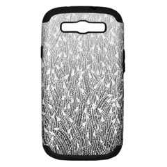 Grey Ombre Feather Pattern, White, Samsung Galaxy S Iii Hardshell Case (pc+silicone) by Zandiepants