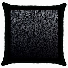 Grey Ombre Feather Pattern, Black, Throw Pillow Case (black) by Zandiepants