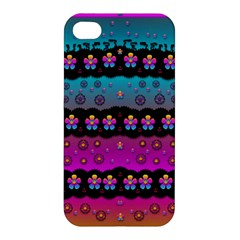 Rainbow  Big Flowers In Peace For Love And Freedom Apple Iphone 4/4s Hardshell Case by pepitasart