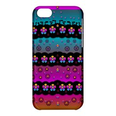 Rainbow  Big Flowers In Peace For Love And Freedom Apple Iphone 5c Hardshell Case by pepitasart