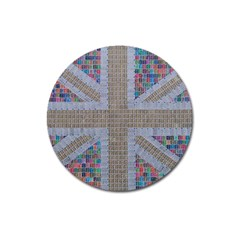 Multicoloured Union Jack Magnet 3  (round) by cocksoupart