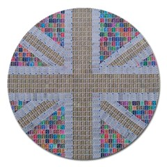 Multicoloured Union Jack Magnet 5  (round) by cocksoupart