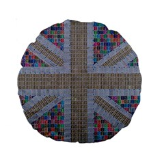Multicoloured Union Jack Standard 15  Premium Round Cushions by cocksoupart