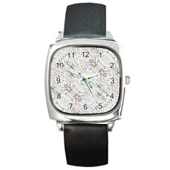 Oriental Floral Ornate Square Metal Watch by dflcprints