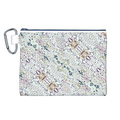Oriental Floral Ornate Canvas Cosmetic Bag (l) by dflcprints