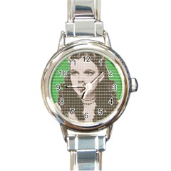 Over The Rainbow   Green Round Italian Charm Watch by cocksoupart