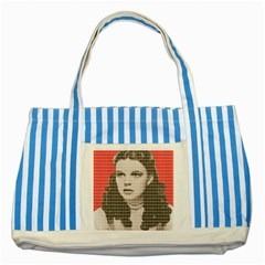 Over the Rainbow - Red Striped Blue Tote Bag by cocksoupart