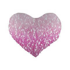 Pink Ombre Feather Pattern, White, Standard 16  Premium Heart Shape Cushion  by Zandiepants