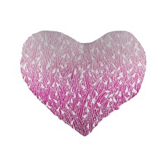 Pink Ombre Feather Pattern, White, Standard 16  Premium Flano Heart Shape Cushion  by Zandiepants