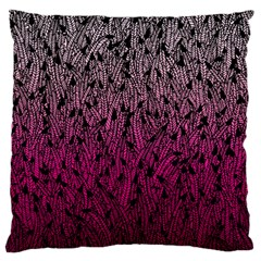 Pink Ombre Feather Pattern, Black, Large Flano Cushion Case (one Side) by Zandiepants