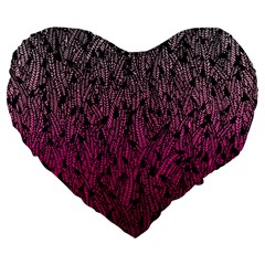 Pink Ombre Feather Pattern, Black, Large 19  Premium Flano Heart Shape Cushion by Zandiepants