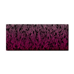 Pink Ombre Feather Pattern, Black, Hand Towel by Zandiepants