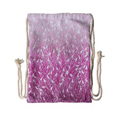 Pink Ombre Feather Pattern, White, Drawstring Bag (small) by Zandiepants