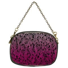 Pink Ombre Feather Pattern, Black, Chain Purse (two Sides) by Zandiepants