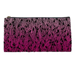 Pink Ombre Feather Pattern, Black, Pencil Case by Zandiepants