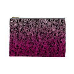 Pink Ombre Feather Pattern, Black, Cosmetic Bag (large) by Zandiepants