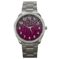 Pink Ombre Feather Pattern, Black, Sport Metal Watch by Zandiepants