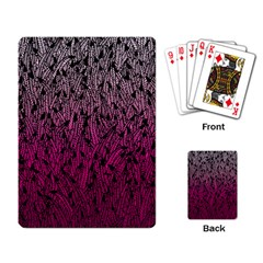Pink Ombre Feather Pattern, Black, Playing Cards Single Design by Zandiepants