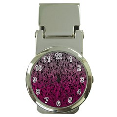 Pink Ombre Feather Pattern, Black, Money Clip Watch by Zandiepants