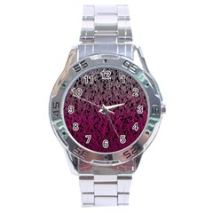 Pink Ombre Feather Pattern, Black, Stainless Steel Analogue Watch by Zandiepants