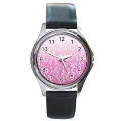 Pink Ombre Feather Pattern, White, Round Metal Watch by Zandiepants