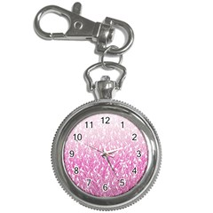 Pink Ombre Feather Pattern, White, Key Chain Watch by Zandiepants