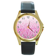 Pink Ombre Feather Pattern, White, Round Gold Metal Watch by Zandiepants