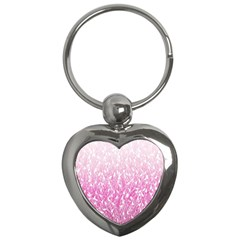 Pink Ombre Feather Pattern, White, Key Chain (heart) by Zandiepants