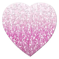 Pink Ombre Feather Pattern, White, Jigsaw Puzzle (heart) by Zandiepants